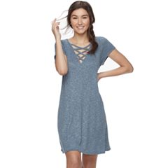 Juniors' Love, Fire Lace-Up Ribbed Swing Dress