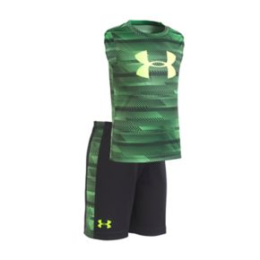 Toddler Boy Under Armour Speed Lines Abstract Striped Logo Muscle Tee & Shorts Set