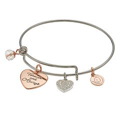 love this life Two Tone 'Forever and Always' Charm Bangle Bracelet