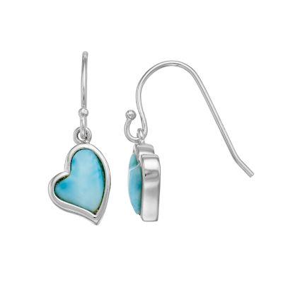 Sterling Silver Larimar Heart Drop Earrings