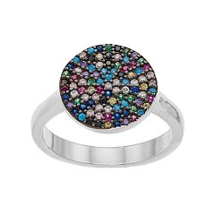 Sterling Silver Multicolored Cubic Zirconia Pave Ring