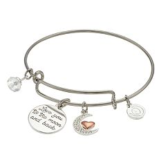 love this life Two Tone 'Love You to the Moon and Back' Charm Bangle Bracelet