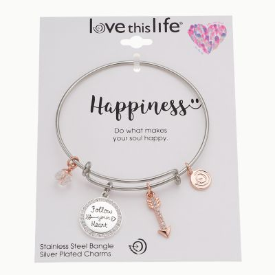 """love this life Two Tone """"Follow Your Heart"""" Charm Bangle Bracelet"""