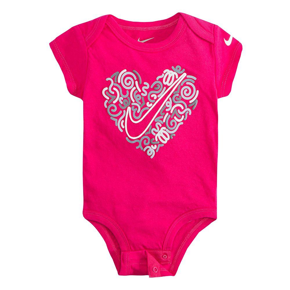 Baby Girl Nike Heart & Swoosh Graphic Bodysuit