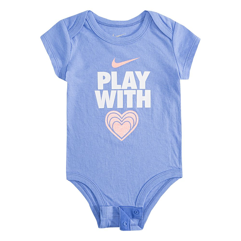 "Baby Girl Nike ""Play With Heart"" Graphic Bodysuit"