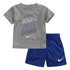 Baby Boy Nike '100% Awesome' Dri-FIT Tee & Mesh Shorts Set