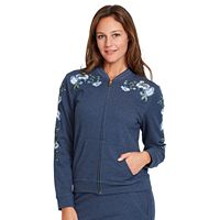 Women's Gloria Vanderbilt Embroidered French Terry Bomber Jacket