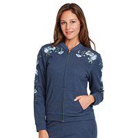 Women's Gloria Vanderbilt Embroidered French Terry Bomber Jacket