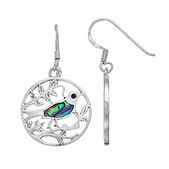 Sterling Silver Abalone Bird Hoop Drop Earrings