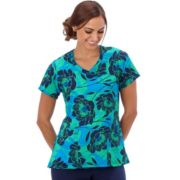 Plus Size Jockey Scrubs Print V-Neck Top