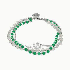 love this life Aventurine & Agate 3-Strand Tree Charm Bracelet