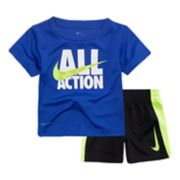 "Baby Boy Nike ""All Action"" Swoosh Graphic Tee & Shorts Set"