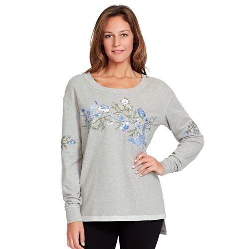 Women's Gloria Vanderbilt Floral Embroidered French Terry Sweatshirt
