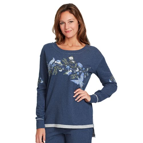 Women's Gloria Vanderbilt Floral Embroidered French Terry Sweatshirt