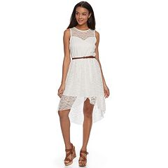 Juniors' Lily Rose Belted Lace Handkerchief Skater Dress