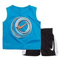 Baby Boy Nike Soccer Ball Muscle Tee & Shorts Set