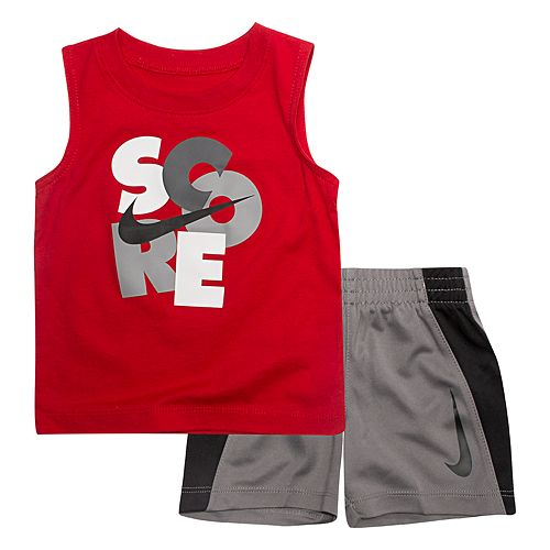 "Baby Boy Nike ""Score"" Muscle Tee & Logo Shorts Set"