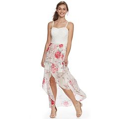Juniors' Lily Rose Floral Lace High-Low Dress