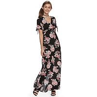 Juniors' Lily Rose Floral Tie-Front Maxi Dress