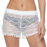 Women's Miken Crochet Pom Pom Cover-Up Shorts