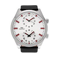 Territory Men's Dual Time Leather Watch - KH-TW-221488-BLK-SIL