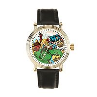 Marvel Comics Captain America, Iron Man & Hulk Men's Leather Watch