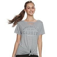 Juniors' SO® Cut-Out Graphic Tee