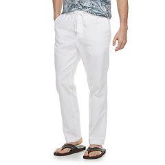 Men's Marc Anthony Slim-Fit Elastic-Waist Linen-Blend Pants