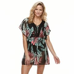 Women's Miken Palm Leaf Chiffon Cover-Up