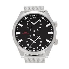 Territory Men's Dual Time Stainless Steel Mesh Watch - KH-TW-221488-1SILBLK