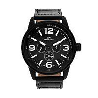 Territory Men's Leather Watch - KH-TW-29572-BLK-BLK