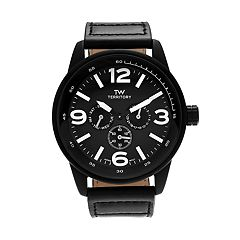 Territory Men's Leather Watch - KH-TW-29572-BLK-BLK