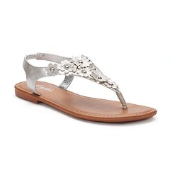 Candie's® Women's Glittery Floral Shield Sandals