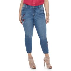 Plus Size Jennifer Lopez Embroidered Skinny Ankle Jeans