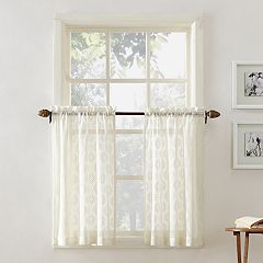 Top of the Window Ariel Medallion Lace Tier Kitchen Window Curtain Pair