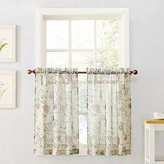 Top of the Window Wildflower Sheer Tier Kitchen Window Curtain Pair