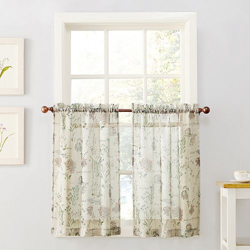 Top of the Window Wildflower Sheer Tier Kitchen Window Curtain Pair