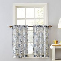 Top of the Window Medallion Tile Sheer Tier Kitchen Window Curtain Pair