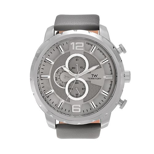 Territory Men's Leather Watch - KH-TW-219979-1SILGRY