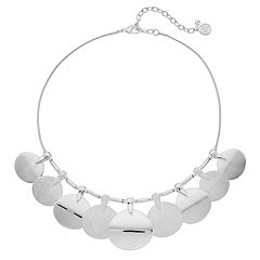 Dana Buchman Textured Disc Statement Necklace