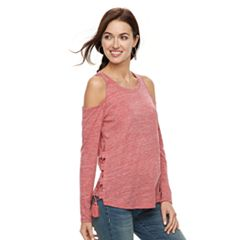 Women's Gloria Vanderbilt Cold-Shoulder Drawstring Tee