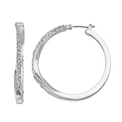 Dana Buchman Pave Twisted Hoop Earrings