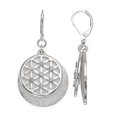 Dana Buchman Flower Lattice Overlay Disc Drop Earrings