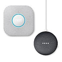 Nest Protect Battery Smoke & Carbon Monoxide Alarm (2nd Generation) + Google Home Mini Bundle