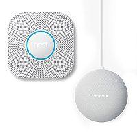 Nest Protect Wired Smoke & Carbon Monoxide Alarm (2nd Generation) + Google Home Mini Bundle