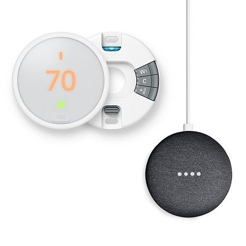Nest Thermostat E + Google Home Mini Bundle