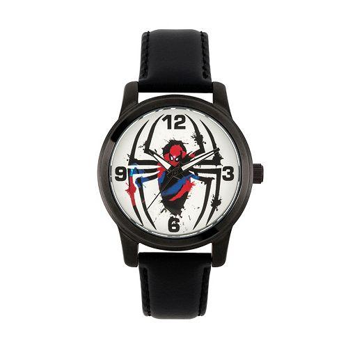 Marvel Ultimate Spider-Man Logo Men's Leather Watch