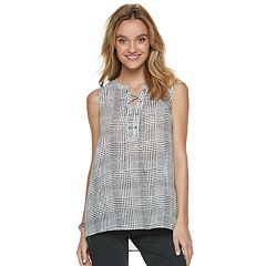 Women's Apt. 9® Lace-Up Georgette Shell Tank