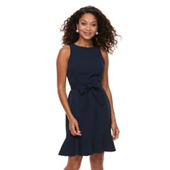 Petite Suite 7 Crepe Belted Sheath Dress