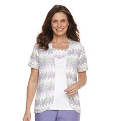 Women's Alfred Dunner Studio Basketweave Cardigan & Camisole Set